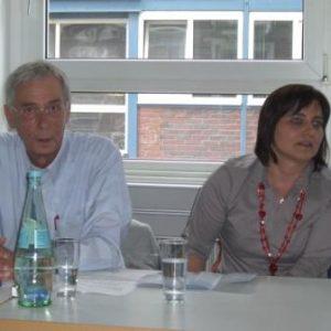Sabine Geyr und Detlef Kornmüller im Gespräch mit den Vertrauensleuten